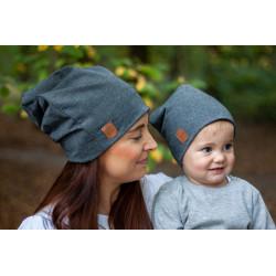 Čepice Maminka & dítě - šedá